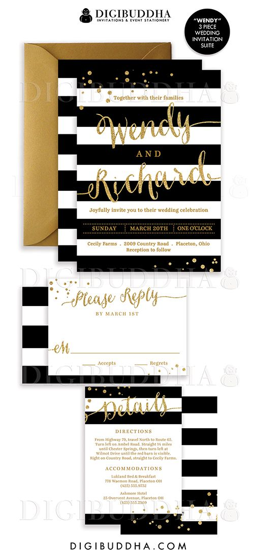 Elegant modern black & white stripe wedding invitations in a 3 piece suite including RSVP reply card and Details / Info enclosure card. Coordinating backers, gold glitter confetti sparkle details. Color envelopes, envelope liners and belly bands also available. digibuddha.com