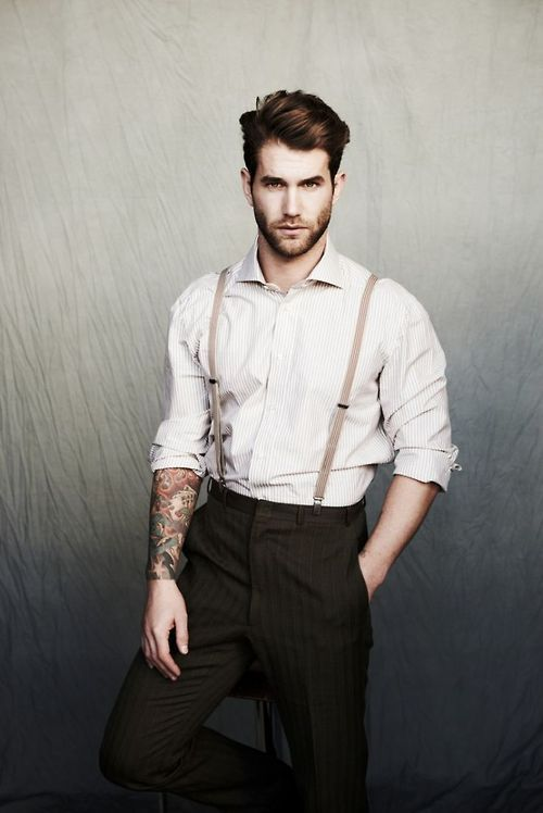 Very simple, with high waisted pants and suspenders. #suspenders ...