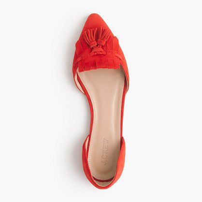 Love the punchy persimmon color, tassel detail, and sharp shape. Suede d'Orsay loafer flats