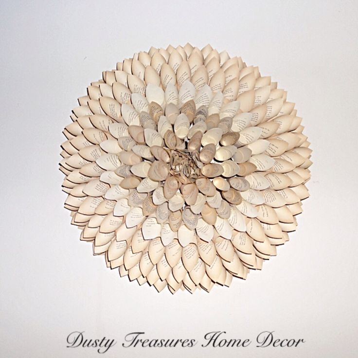 Natural colour paper dahlia flower , book pages wreath wall hangings