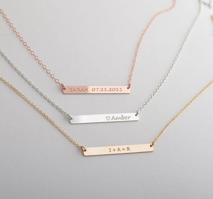 Name Bar Necklace, Nameplate Necklace Personalize, Horizontal Bar Necklace, Date Necklace by foressti on Etsy https://www.etsy.com/listing/151839841/name-bar-necklace-nameplate-necklace