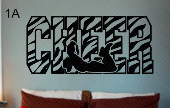 Cheer animal print vinyl wall decal design 1 cheerleading wall decalgirls wall decalwall vinyl decal custom wall decal