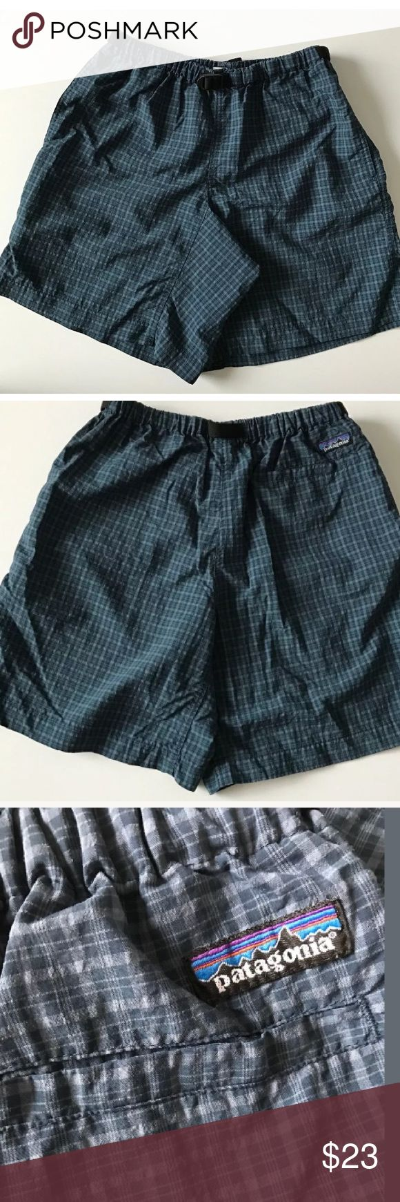 """Patagonia Men's Belted Hiking Swim Trunks Shorts Patagonia Men's Belted Hiking Swim Travel Trunks Shorts Size Medium Blue Plaid! Pre-Owned! Excellent Condition!! Inseam 9"""" Outterseam 18"""" Patagonia Swim Swim Trunks"""