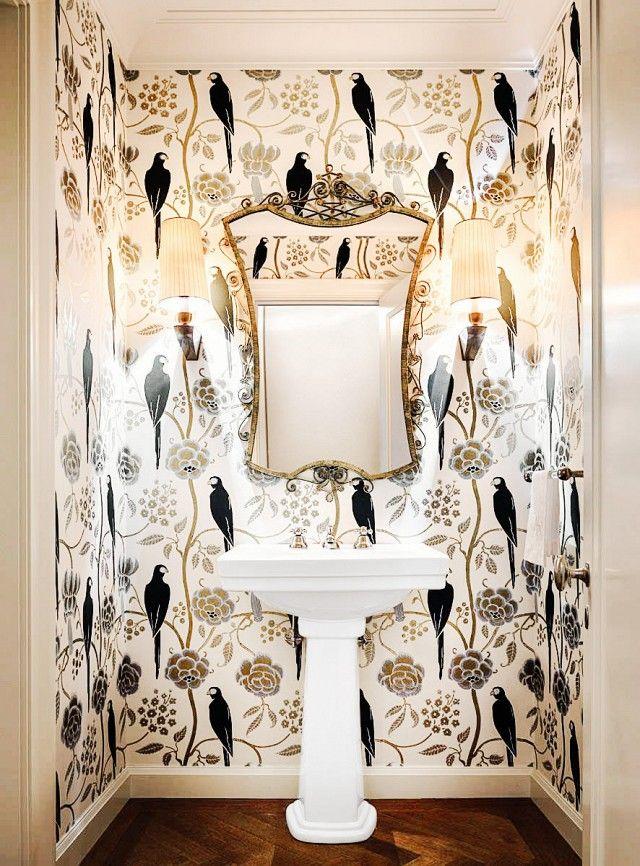 Wallpapered bathroom / washroom