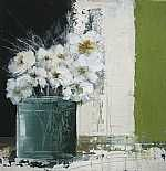 JH068, Still Life with Pot of White Flowers, acrylic on board, 33 x 33cm