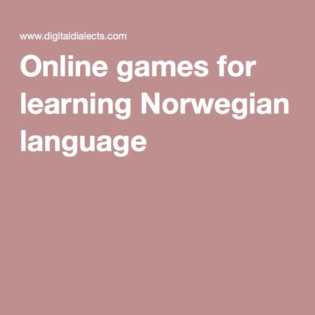 Online games for learning Norwegian language