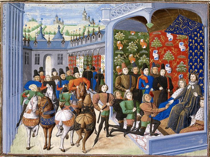Isabeau of Bavaria and Charles VI at the Treaty of Troyes - Philippe de Mazerolles — Wikipédia