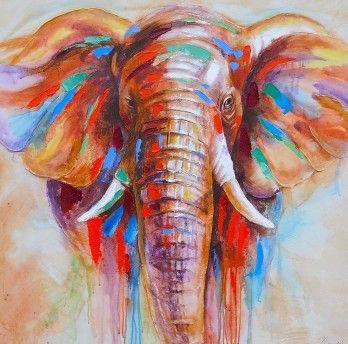 Schilderij olifant 100x100 Nieuw! | Schilderijenshop