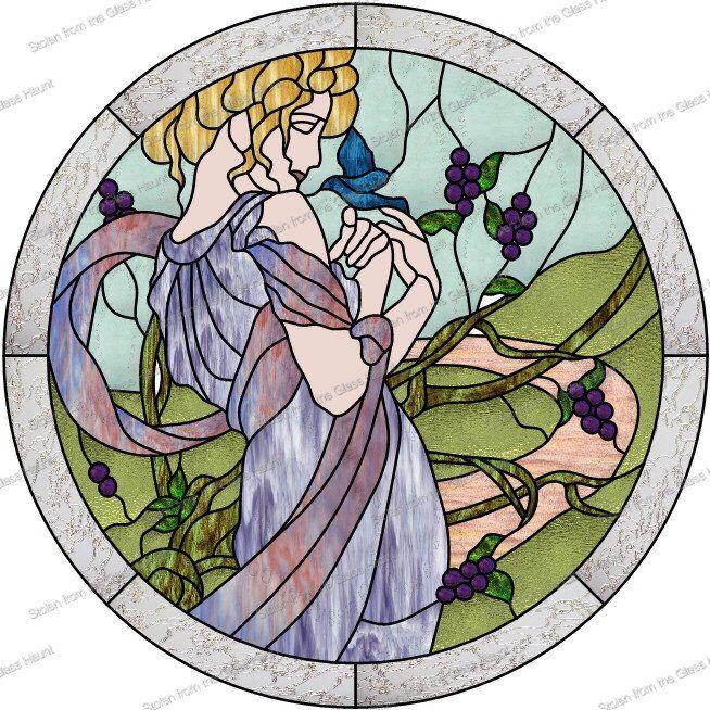 "Alphonse Mucha 5 May 24"" Stained Glass Pattern  Artist Ruth Green"