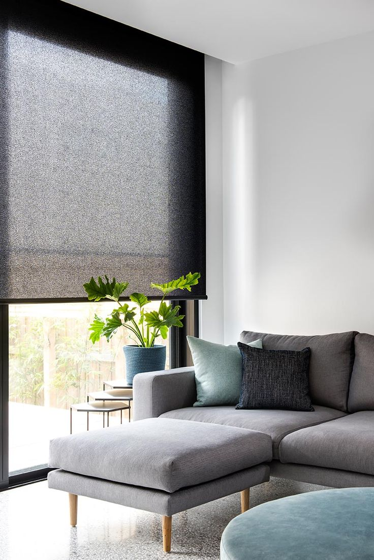 Exceptional Simple Modern Living Room In Greys And Blues // Roller Blind In Baltic  Translucent Fabric And Pumice Colour.