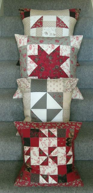 Pillows made with French General fabrics   Sandy Quilts