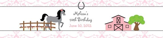 horseback riding  birthday party water bottle label-- waterproof - water bottle label --  horse horseback riding