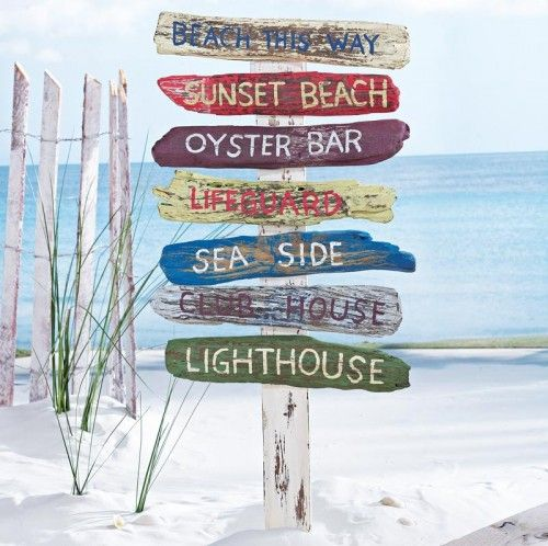 beach signs on a stake tropical outdoor decor - Beach Decorations