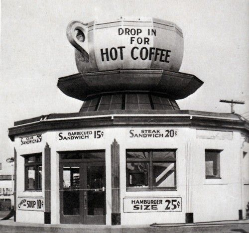 Drop in for hot coffeeAngels Coffe, Coffee Shops, Vintage Coffe, Cups Of Coffe, Vintage Photos, Coffee Cafe, Los Angeles, Coffe Cafes, Los Angels