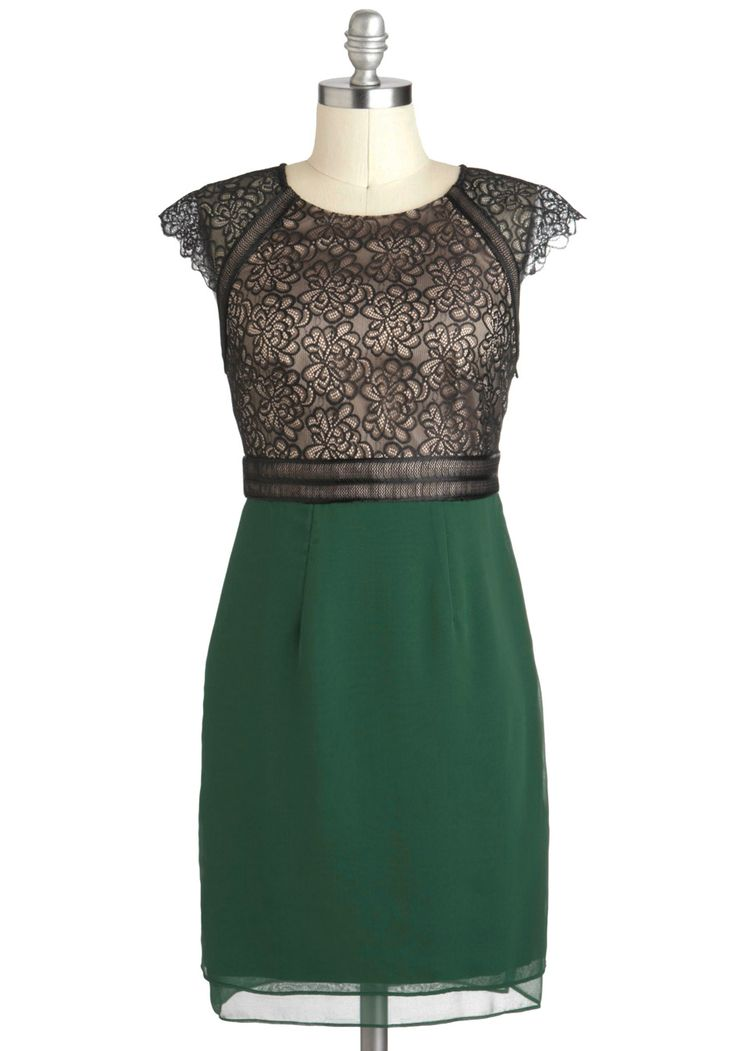Forest Through the Breeze Dress - Green, Black, Party, Sheath / Shift, Cap Sleeves, Fall, Mid-length, Cocktail, Cutout, Holiday Party