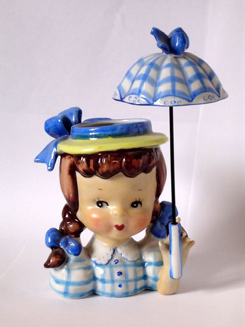 Sweet Vintage Girl Holding Umbrella Headvase Head Vase Napco Vintage Items Vintage Girls