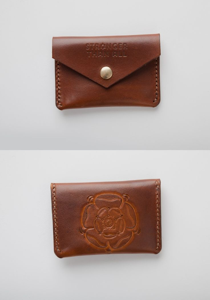 Hand Tooled Tudor Rose. Leather Snap Wallet by Stronger Than All Leather