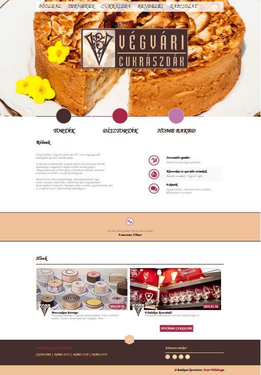 Végvári Cukrászda weboldal terv