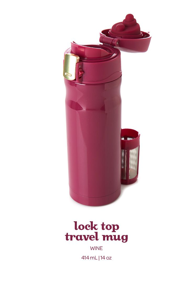A pretty wine purple travel mug with a flip-open lid and a lock to prevent spills.