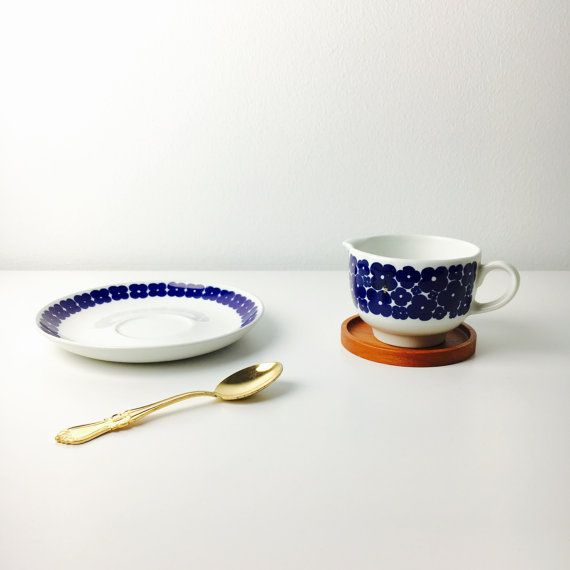 """Reserved for Karin-Very rare production in short time vintage Arabia creamer and saucer named """"Leinikki"""", Göran Bäck, 1970s, Made in Finland"""