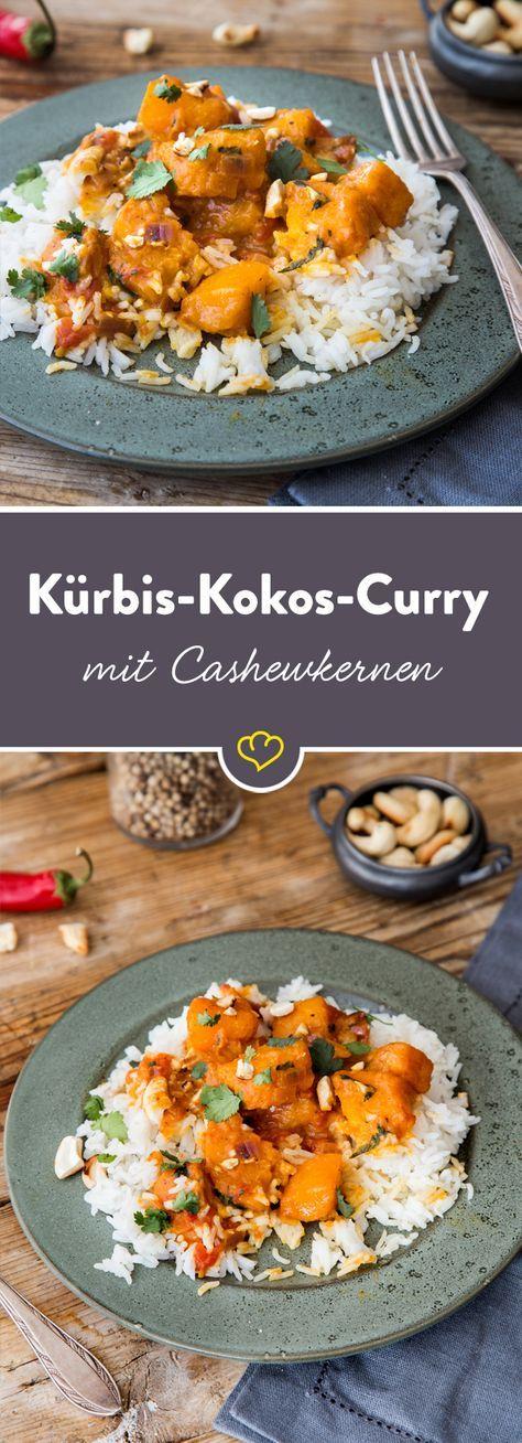 Der Clou an diesem Curry: Butternutkürbis macht das vegane Ragout gemeinsam mit exotischer Kokosmilch und einer Vielzahl an Gewürzen besonders cremig.