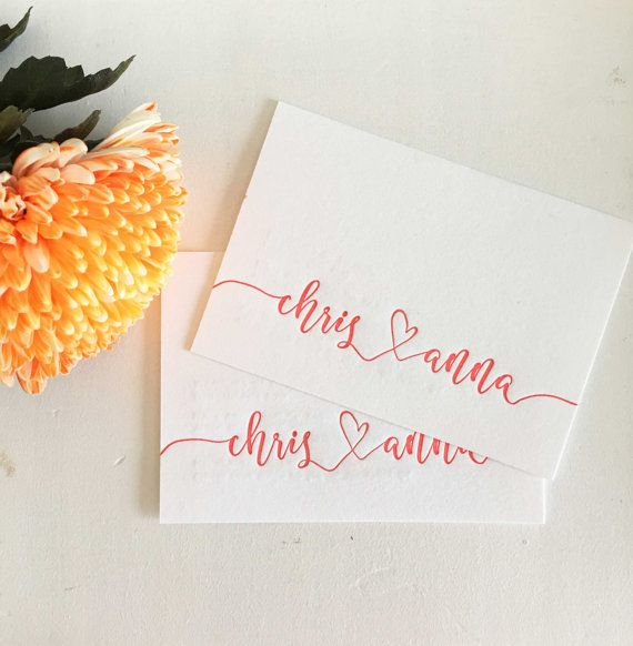 Calligraphy Engagement Invite Letterpress Engagement by CocoPress