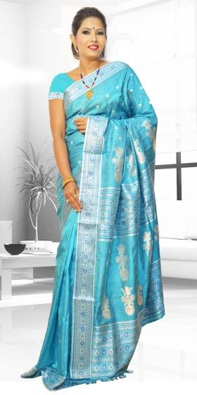 Beautiful Blue colour Assam Silk Pat saree with artistic Suta Work giving a gorgeous look to the saree. This collection is perfect for any festive occasion. The Saree comes with matching blouse piece, the blouse shown in the image is just for display purpose.Slight colour variation may be there in display & actual.