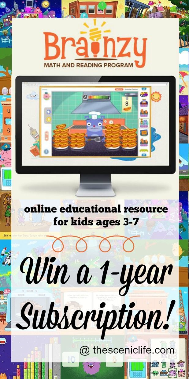 Brainzy is an online math & reading program from Education.com - perfect for kids 3-7 years old! Win a 1-year subscription ($47.88 value) from thesceniclife.com! #education #kids #preschool