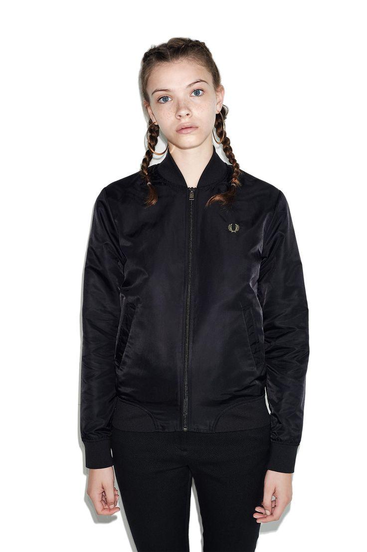 fred perry short unlined bomber jacket black dressed. Black Bedroom Furniture Sets. Home Design Ideas