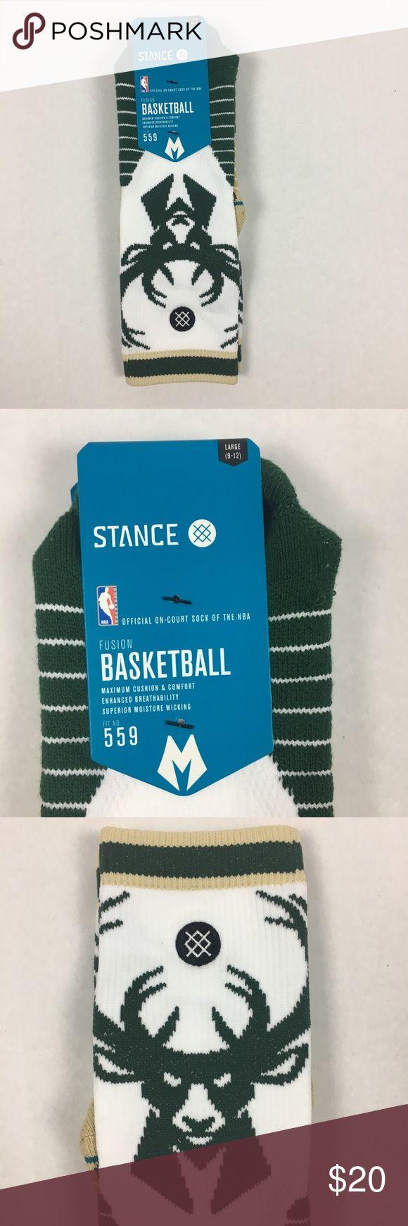 Stance Bucks Basketball NBA Socks Large Milwaukie Stance Socks Size Large (9-12) Bucks Logo Crew socks Green & White Stance Underwear & Socks Athletic Socks