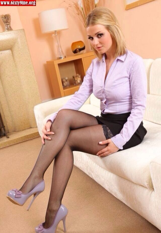 Blonde and long legs and silk stockings and pantyhose-7951