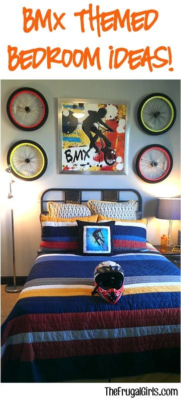 BMX Themed Bedroom Decor Ideas + more at TheFrugalGirls.com