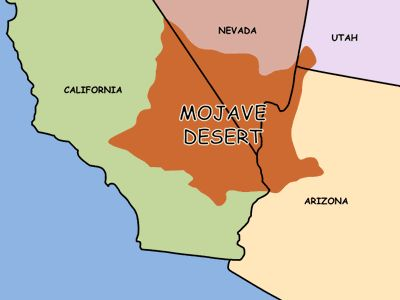 Image result for mojave desert on map