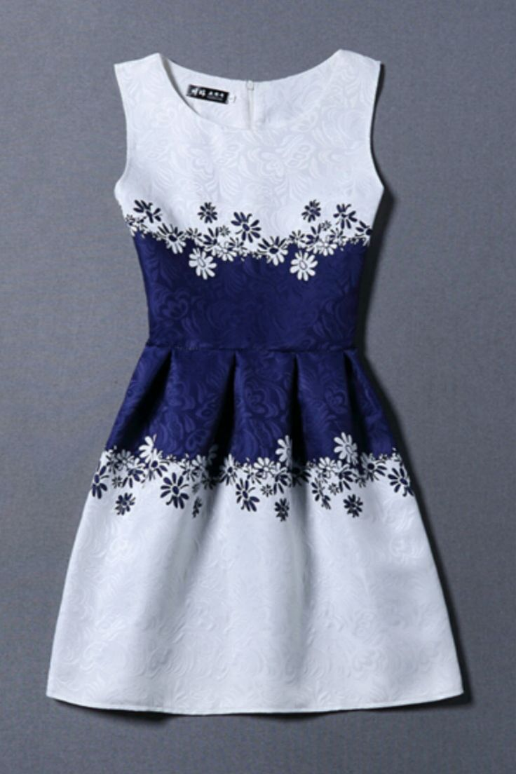 Blue And White Floral Sleeveless Dress