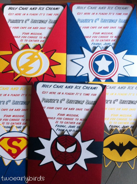 Superhero Birthday Invitations by TwoEarlyBirds on Etsy