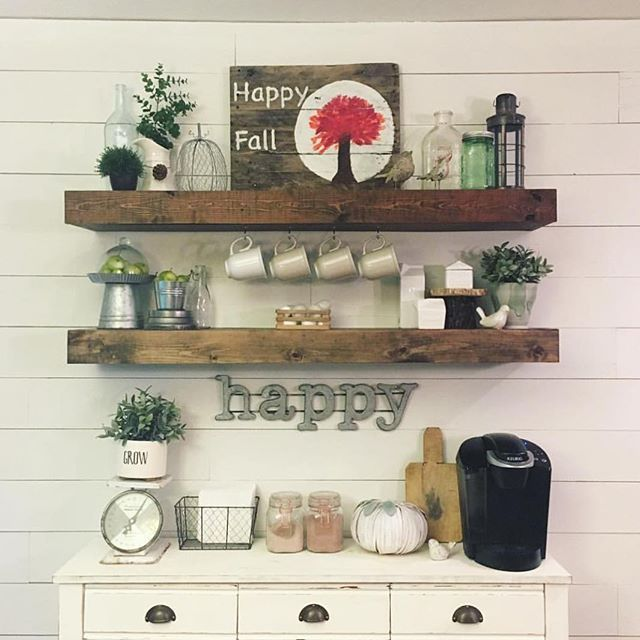 Love This Version Of Our Dining Room Floating Shelves By So Cute Free Plans To Build Your Own Are On Site