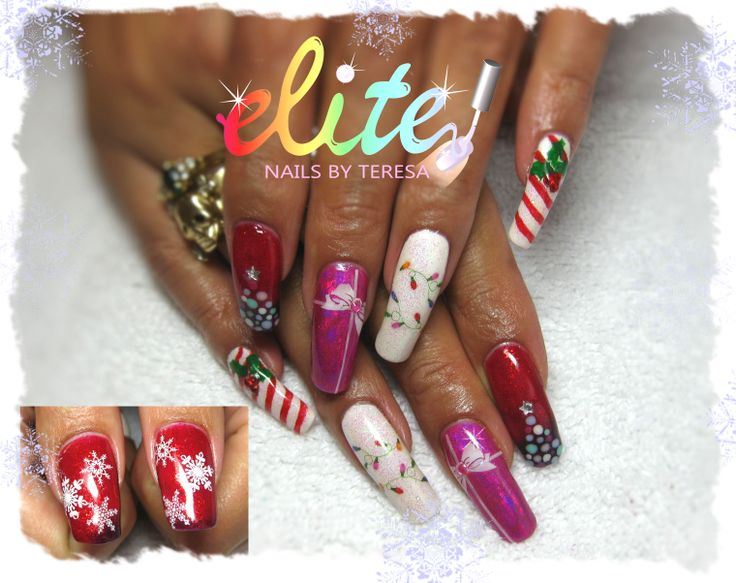 Awesome long natural nails with CND Shellac, foils, glitter, striping tape and hand painting Christmas nails