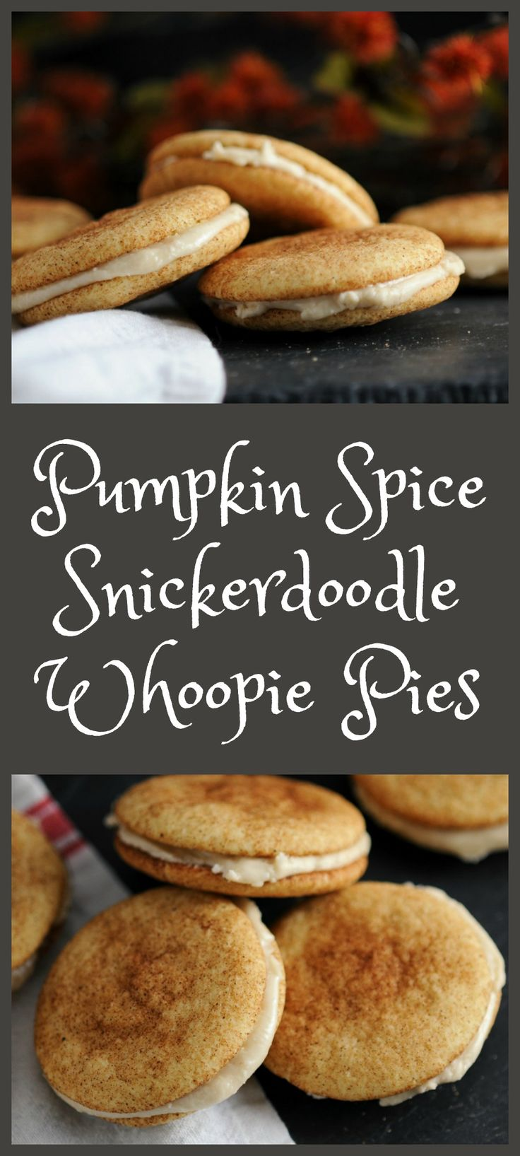 Pumpkin Spice Snickerdoodle Whoopie Pies - Amaretto Cream filling, or with almond extract  #cookies #pumpkins #desserts #easy
