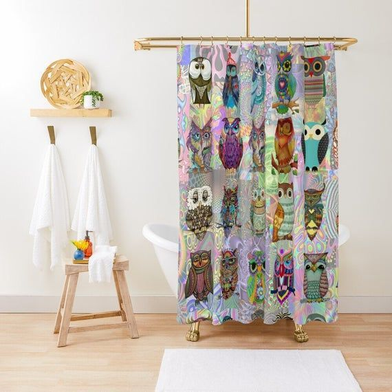 Psychedelic Owls Shower Curtain Bathroom Curtains Shower Curtains Funny Bath Shower Curtains In 2020 Green Shower Curtains Funny Shower Curtains Kids Shower Curtain