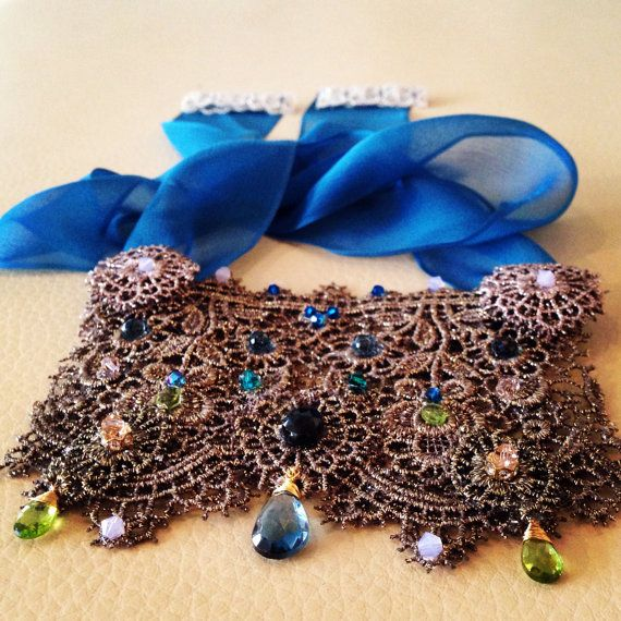 Sappho by Kim Smiley - Lace and London Blue Topaz Breastplate  $700 - www.kimsmiley.com