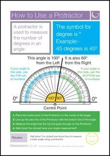"""FREE MATH LESSON - """"Protractor Use Poster"""" - Go to The Best of Teacher Entrepreneurs for this and hundreds of free lessons. 3rd - 5th Grade  http://www.thebestofteacherentrepreneurs.org/2016/12/free-math-lesson-protractor-use-poster.html"""