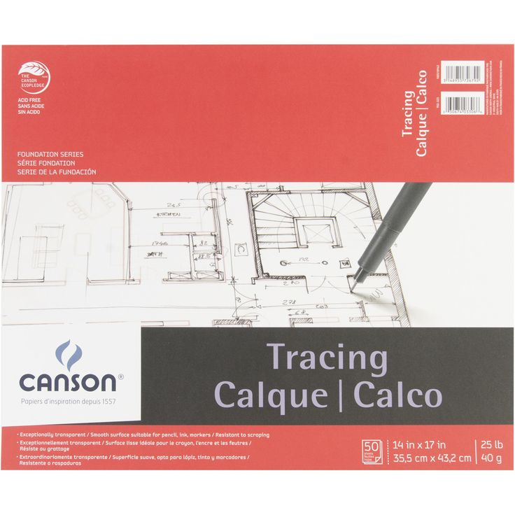 """Canson Foundation Series Tracing Paper Pad 14""""""""X17""""""""-50 sheets"""