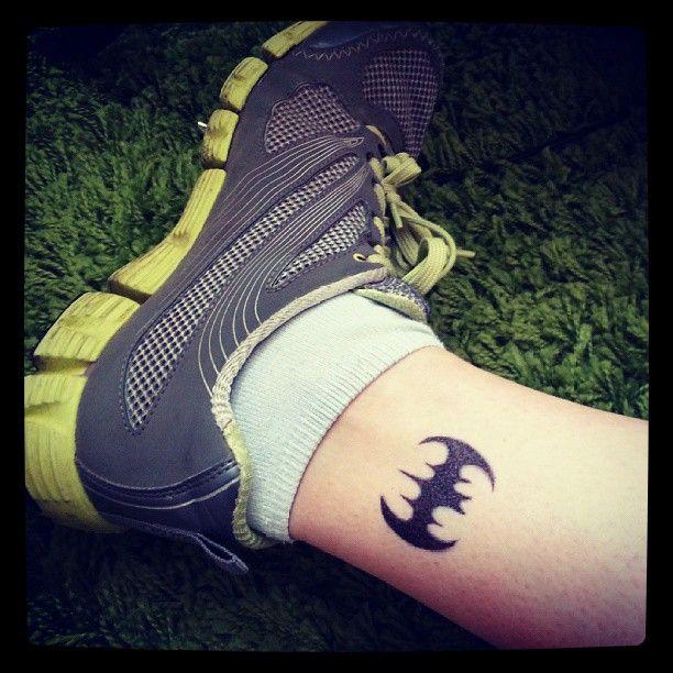 Small Batman Symbol Tattoo On Ankle
