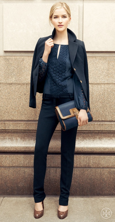 great shapes in this outfit -- angular bag, skinny jean, and patent pump