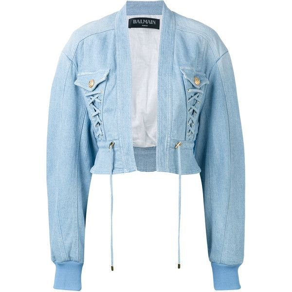 Balmain cropped denim bomber (9369885 PYG) ❤ liked on Polyvore featuring outerwear, jackets, blue, denim jacket, long blue jacket, balmain, cropped denim jacket and long jacket