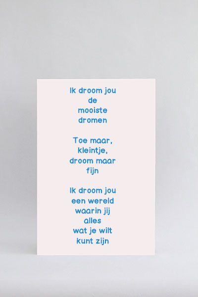 Tekstbord Ik droom jou de mooiste dromen. Mooi tekstbord voor baby of kind / kinderen. Prachtig op de babykamer of kinderkamer. Stel het tekstbord zelf samen.