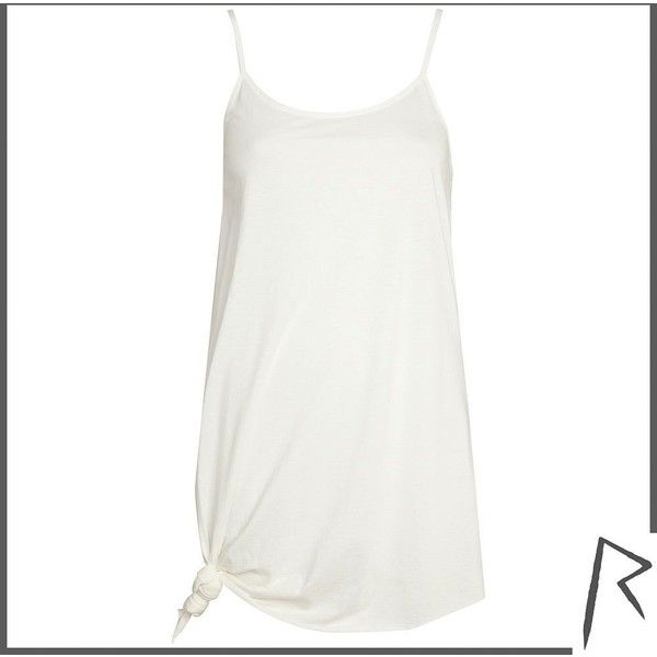 To The Black White Rihanna longline knotted cami top ($12) ❤ liked on Polyvore featuring tops, dresses, spaghetti strap top, spaghetti strap tank tops, longline cami, longline tops and black and white tank top