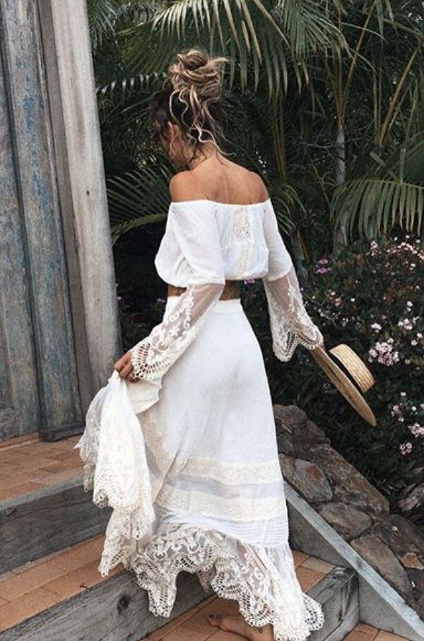 White lace boheme / summer dress off the shoulder / boho chic style  /