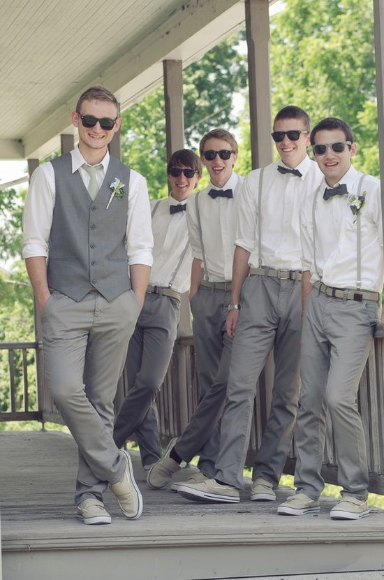 Ignore the how goofy these guys are and the sunglasses and the bow ties and the shoes.... but I like this casual kind of look for the guys. love the suspenders. Capen would also like to do a more casual but nifty look.