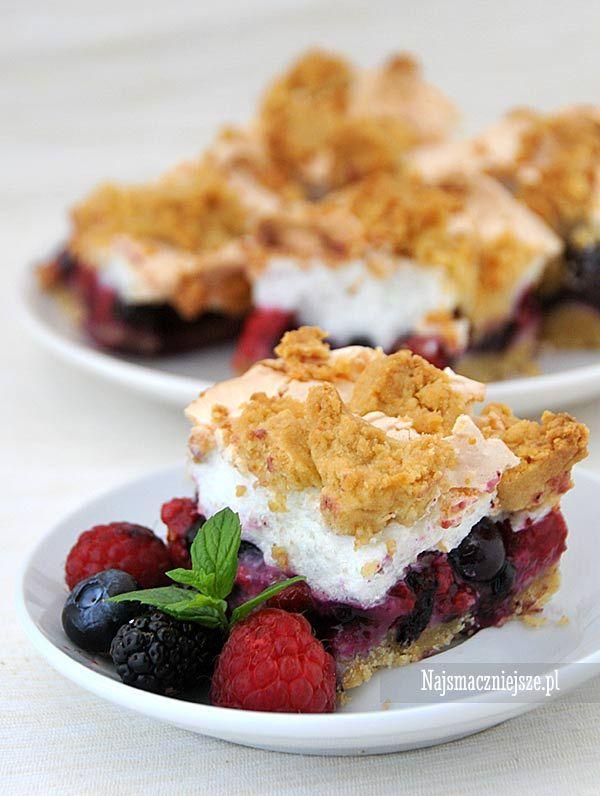 Ciasto kruche z owocami i bezą, ciasto z owocami ciasto z beza, beza, http:/najsmaczniejsze.pl #food #cake #ciasto #owoce #beza